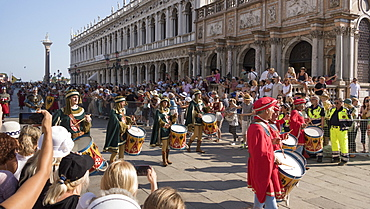 Medieval pageant in Little St. Mark's Square, Venice, UNESCO World Heritage Site, Veneto, Italy, Europe