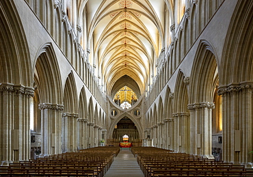 Interior of the Nave looking East, Wells Cathedral, Wells, Somerset, England, United Kingdom, Europe