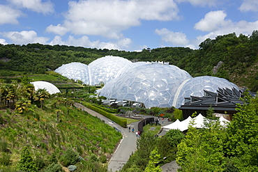 Eden Project, view from entrance path, St. Austell, Cornwall,  England, United Kingdom, Europe