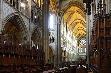Nave and West Window from the Quire (Choir), Truro Cathedral, Cornwall, England, United Kingdom, Europe