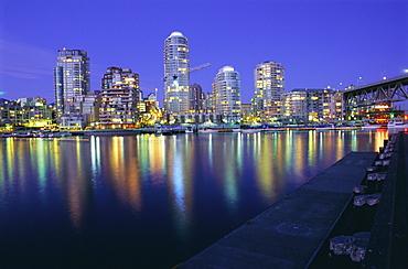 False Creek, night skyline, Vancouver, British Columbia (B.C.), Canada, North America