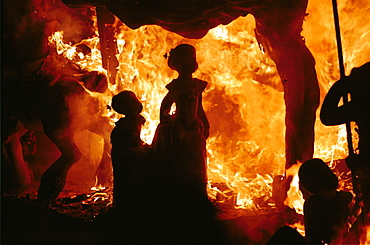Valencia - Spain - Las Fallas Fiesta - Images in the flames at the burning of a small childrens ninot