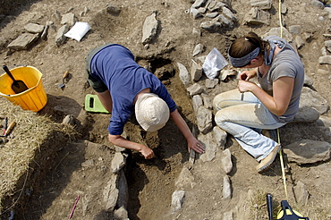 Archaeological excavation of a grave by Cambria Archaeology at West Angle Bay, Pembrokeshire, Wales, United Kingdom, Europe