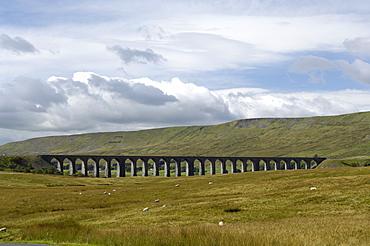The Ribblehead Viaduct on the Settle-Carlisle railway line, North Yorkshire, England, United Kingdom, Europe