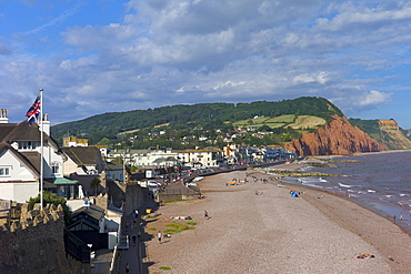 Beach and cliffs on the Jurassic Coast, UNESCO World Heritage Site, Sidmouth, Devon, England, United Kingdom, Europe