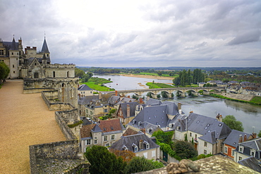 River Loire from the Chateau, Amboise, Indre et Loire, Centre, France, Europe