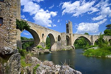 The Romanesque bridge, Besalu, Catalonia, Spain, Europe