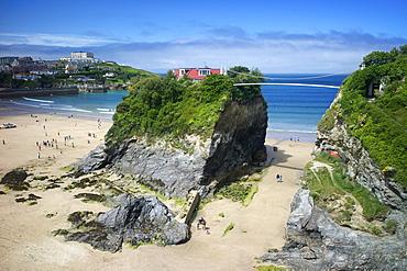 Suspension bridge at Towan beach, Newquay, Cornwall, England, United Kingdom, Europe