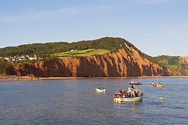 Sandstone cliffs of the Jurassic Coast at Sidmouth, Devon, England, United Kingdom, Europe