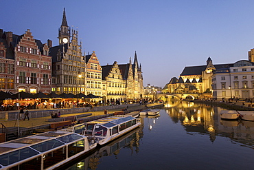River Leie in Ghent, East Flanders, Belgium, Europe