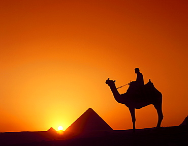 Silhouette of figure on camelback at pyramid, Giza, Cairo, Egypt