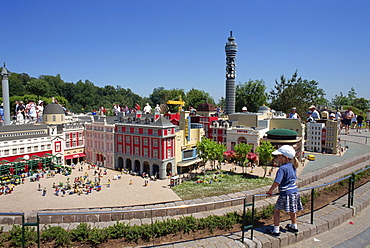 Child admiring model of London, Legoland amusement park, Windsor, Berkshire, England, United Kingdom, Europe