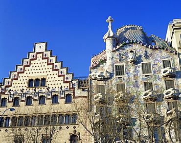 Houses by two architects, Casa Batllo by Gaudi and Casa Amatller by Cadafalch, in Barcelona, Cataluna, Spain, Europe