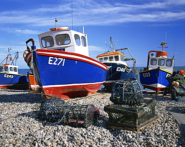 Fishing boats on the beach at Beer in Devon, England, United Kingdom, Europe