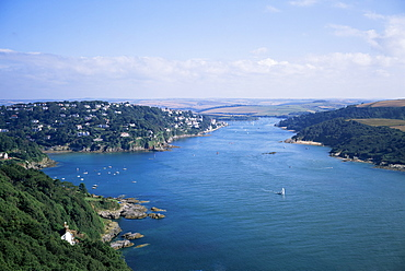 Estuary and town, Salcombe, Devon, England, United Kingdom, Europe
