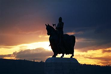 Statue of Robert Bruce, Bannockburn, Stirlingshire, Scotland, United Kingdom, Europe