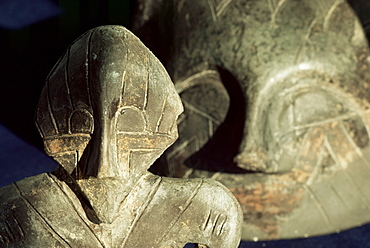 Close-up of carvings, Vinca culture, Belgrade Museum, Serbia, Europe