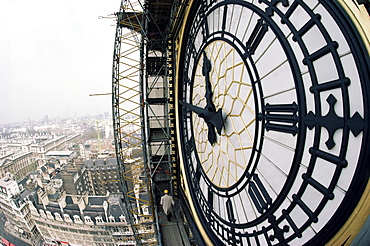 Close-up of the clock face of Big Ben, Houses of Parliament, Westminster, London, England, United Kingdom, Europe