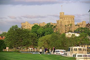 Windsor Castle from Eton Meadows across the River Thames, Windsor, Berkshire, England, United Kingdom, Europe