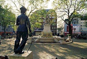 Chaplin statue and Leicester Square, London, England, United Kingdom, Europe
