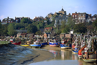 Fishing boats on River Rother, Rye, Sussex, England, United Kingdom, Europe
