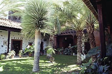 Courtyard of parador above the town, San Sebastian, La Gomera, Canary Islands, Spain, Atlantic, Europe