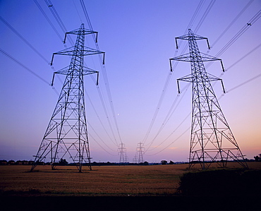 Pylons in a rural landscape at dusk