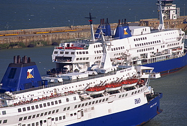 Cross channel ferries in Dover harbour, Kent, England, United Kingdom, Europe