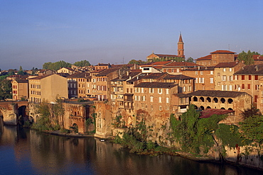 Skyline of houses and church of the town of Albi in the Tarn Region of Midi Pyrenees, south west France, Europe