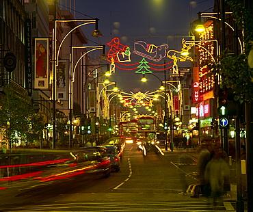 Christmas lights, Oxford Street, London, England, United Kingdom, Europe