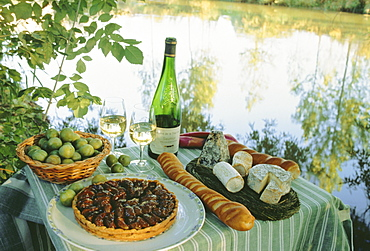 Food and wine on a table beside the river Loire, France, Europe