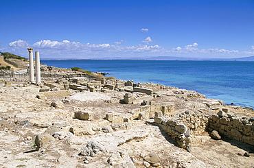 Roman archaeological site, Tharros, near Oristano, island of Sardinia, Italy, Mediterranean, Europe