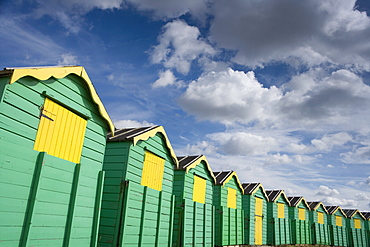 Colourful beach huts, Littlehampton, West Sussex, England, United Kingdom, Europe