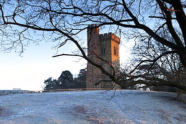 Leith Hill Tower in frost, Surrey Hills, highest point in south east England, Greensand Way, Surrey, England, United Kingdom, Europe