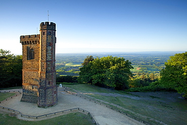 Leith Hill Tower, highest point in south east England, view sout on a summer morning, Surrey Hills, GreensandWay, Surrey, England, United Kingdom, Europe