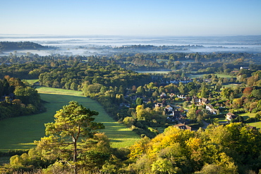 View south from Colley Hill on a misty autumn morning, Reigate, Surrey Hills, Surrey, England, United Kingdom, Europe