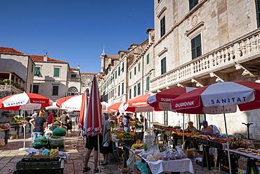 Market in Gundulic's Square, Dubrovnik, Croatia, Europe
