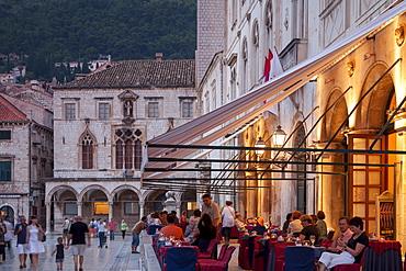Pred Dvorom, people at cafe at dusk, Dubrovnik, Croatia, Europe