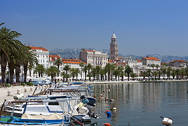 Waterfront, harbour and cathedral, Split, Croatia, Europe