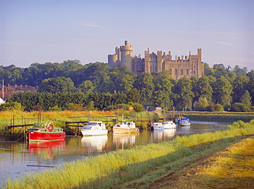 Arundel Castle and River, Arundel, Sussex, England