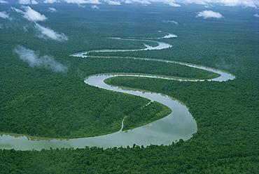 Meandering river, Irian Jaya, Indonesia, Southeast Asia, Asia