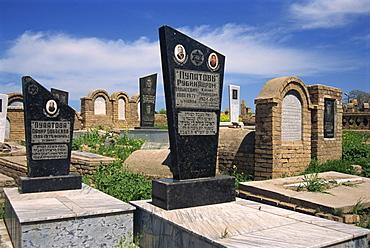 Tomb with Hebrew inscriptions, Jewish Cemetery, Samarkand, Uzbekistan, Central Asia, Asia