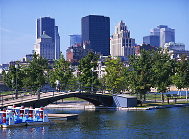 City skyline from the old port, Montreal, Quebec, Canada, North America