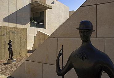 Two sculptures in front of geometrical walls of museum facade, Sculptures Garden, Israel Museum, Jerusalem, Israel, Middle East