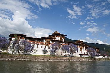 View of the Dzong in Punakha, Bhutan, Asia