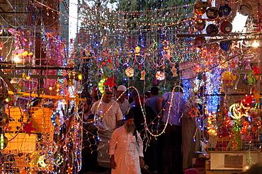 Ramadan decorations in a cotton market, Jerusalem Old City, Israel, Middle East