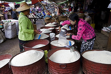 Rice stall in daily food market, Augban, Southern Shan State, Myanmar (Burma), Asia