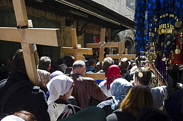 Orthodox Good Friday processions on the Way of the Cross. Old City, Jerusalem, Israel, Middle East