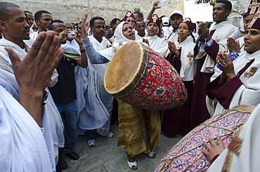 Ethiopian Good Friday celebrations at the Holy Sepulcre, Old City, Jerusalem, Israel, Middle East