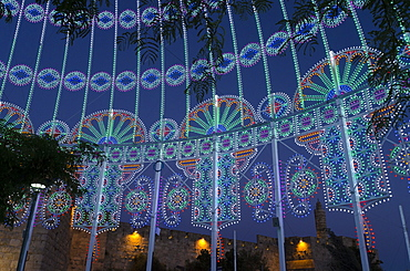 The Jerusalem Festival of Light at Jaffa Gate in Jerusalem Old City, Israel, Middle East